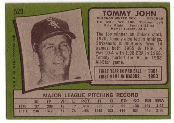 tommy john - topps 1971 back sm